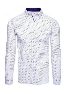 Pánska vzorovaná košeľa s dlhým rukávom v bielej farbe