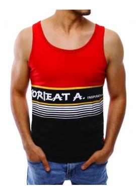 Pánske letné tričko s potlačou v červenej farbe