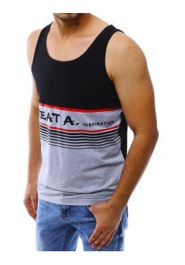 Letné pánske tričko čiernej farby s potlačou