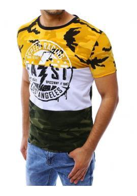 Žlté maskáčové tričko s potlačou pre pánov