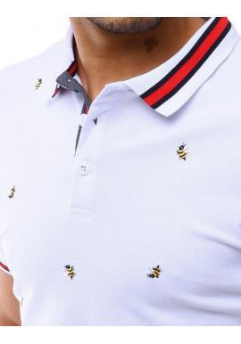Pánska letná polokošeľa s vyšívanými včelami v bielej farbe