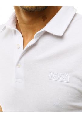 Jednofarebná pánska polokošeľa bielej farby s výšivkou NASA