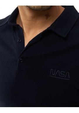 Pánska jednofarebná polokošeľa s výšivkou NASA v tmavomodrej farbe