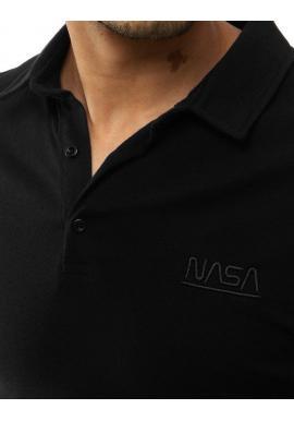 Čierna jednofarebná polokošeľa s výšivkou NASA pre pánov