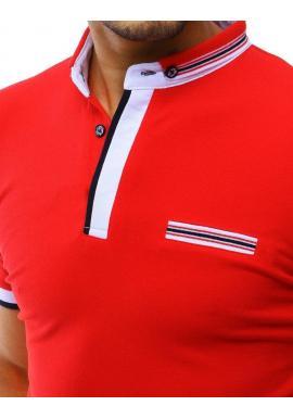 Pánska klasická polokošeľa s imitáciou vrecka v červenej farbe