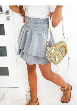 Dámska sukňa s gumičkou v páse v svetlosivej farbe