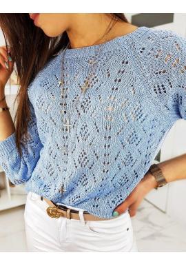 Svetlomodrý sveter s ažúrovým vzorom pre dámy