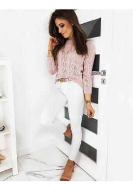 Dámsky sveter s ažúrovým vzorom v ružovej farbe