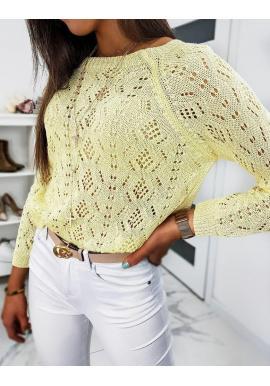 Žltý sveter s ažúrovým vzorom pre dámy
