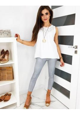 Dámske elegantné nohavice s kockovaným vzorom v sivej farbe