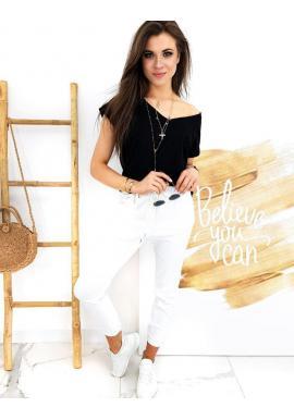 Klasické dámske nohavice bielej farby s viazaním