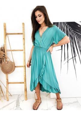 Asymetrické dámske šaty morskej farby s obálkovým výstrihom