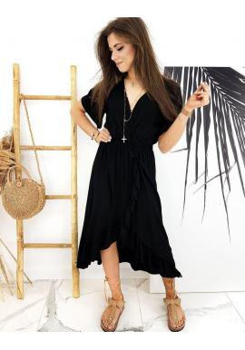 Čierne asymetrické šaty s obálkovým výstrihom pre dámy