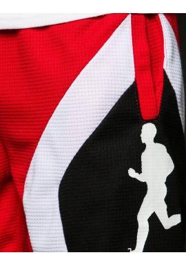 Červené športové kraťasy s potlačou pre pánov