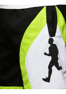 Športové pánske kraťasy čiernej farby s potlačou