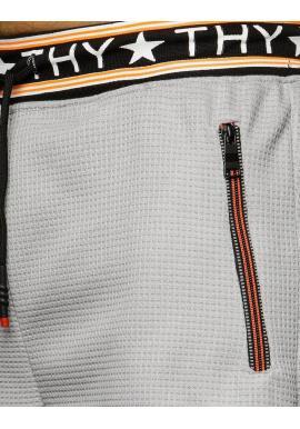 Pánske teplákové kraťasy s potlačou na patente v sivej farbe