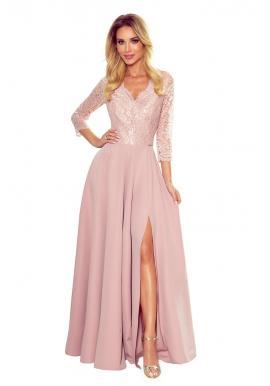 Práškovo ružové dlhé šaty s čipkou pre dámy