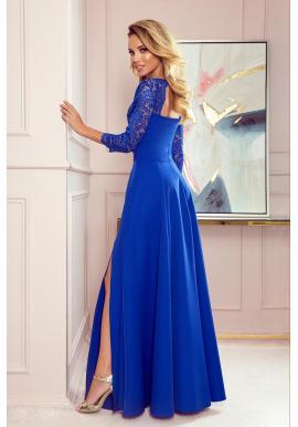 Dámske dlhé šaty s čipkou v modrej farbe