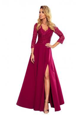 Dlhé dámske šaty bordovej farby s čipkou