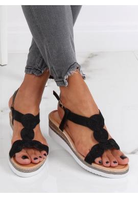 Dámske metalické sandále na nízkom klinovom opätku v čiernej farbe