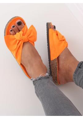 Semišové dámske šľapky oranžovej farby na korkovej podrážke