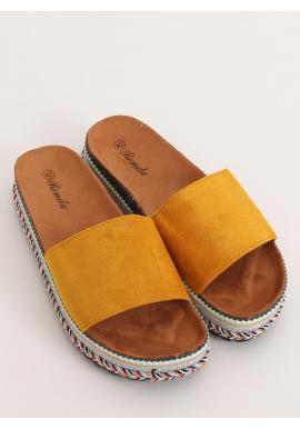 Žlté semišové šľapky na vysokej podrážke pre dámy