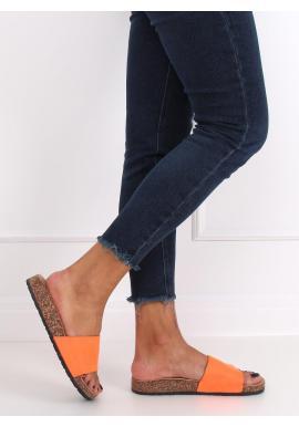 Dámske semišové šľapky na korkovej podrážke v oranžovej farbe