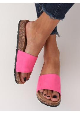 Ružové semišové šľapky na korkovej podrážke pre dámy