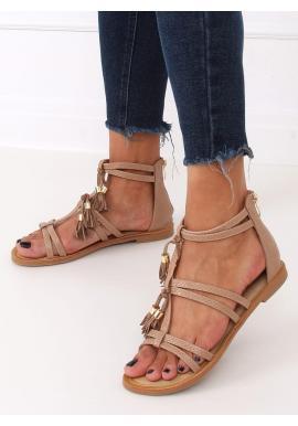 Štýlové dámske boho sandále béžovej farby so strapcami