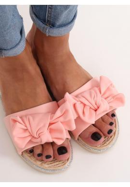 Letné dámske šľapky ružovej farby s mašľou