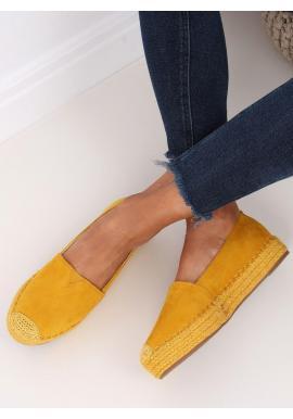 Žlté semišové espadrilky s vysokou podrážkou pre dámy