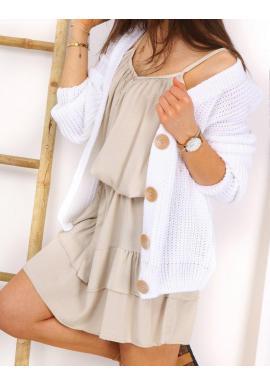 Štýlový dámsky sveter bielej farby s veľkými gombíkmi