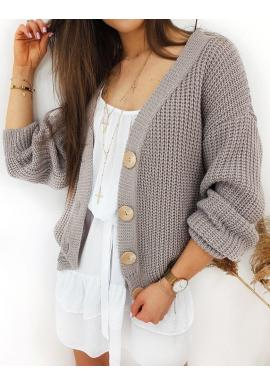 Dámsky štýlový sveter s veľkými gombíkmi v béžovej farbe