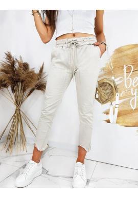 Béžové štýlové nohavice s viazaním v páse pre dámy