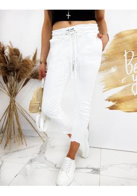 Biele štýlové nohavice s viazaním v páse pre dámy