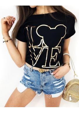 Čierne klasické tričko so zlatou potlačou pre dámy