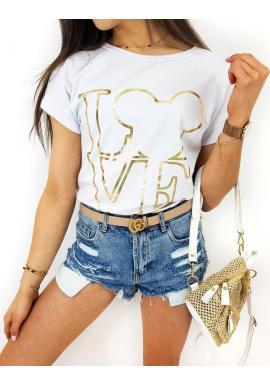 Klasické dámske tričká bielej farby so zlatou potlačou