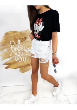 Dámske klasické tričko s potlačou Minnie v čiernej farbe