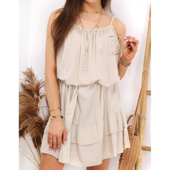 Béžové letné šaty na ramienka pre dámy