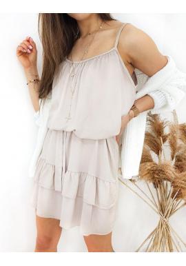 Letné dámske šaty kapučínovej farby na ramienka