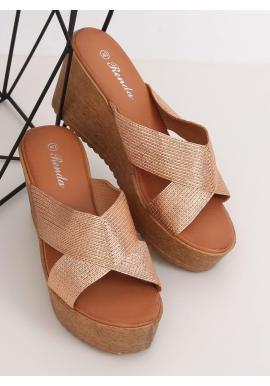 Ružovo-zlaté metalické šľapky s klinovým opätkom pre dámy