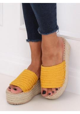 Letné dámske šľapky žltej farby s klinovým opätkom