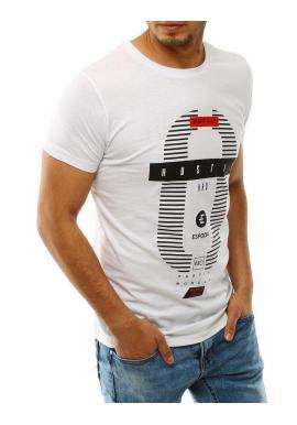 Pánske klasické tričko s potlačou v bielej farbe