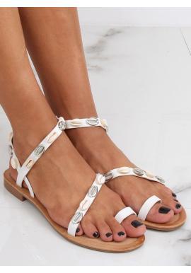 Dámske letné sandále s mušľami v bielej farbe