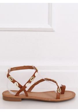 Letné dámske sandále hnedej farby s mušľami