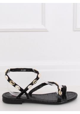 Čierne letné sandále s mušľami pre dámy