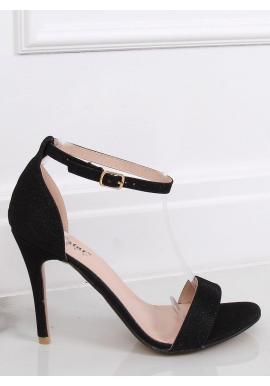 Dámske trblietavé sandále na štíhlom opätku v čiernej farbe