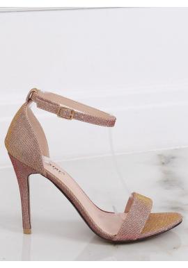 Trblietavé dámske sandále ružovo-zlatej farby na štíhlom opätku