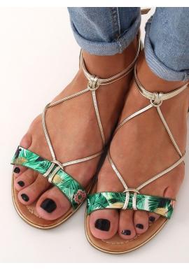 Zelené módne sandále so zlatými pásikmi pre dámy