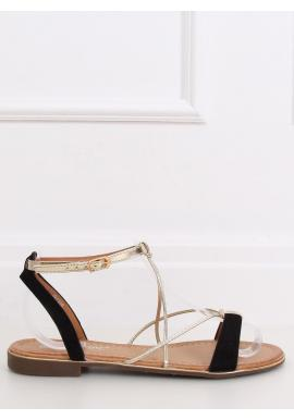 Dámske módne sandále so zlatými pásikmi v čiernej farbe